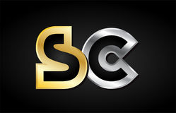 Gold silver letter joint logo icon alphabet design Royalty Free Stock Images