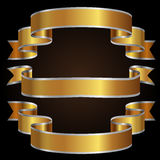 Gold silver line ribbon set on black background vector. Stock Photo