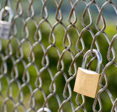 Gold and Silver love lock on chain link fence Royalty Free Stock Photos