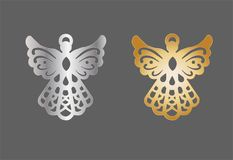 Gold and silver metal angel charm. Christmas decoration vector illustration