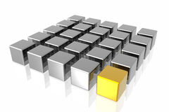 Gold and Silver Metal Cubes Stock Images