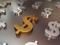 Gold and silver metal floor of dollar signs Stock Photos