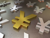 Gold and silver metal floor of japan yen signs royalty free stock image