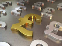 Gold and silver metal floor of pound signs Royalty Free Stock Image