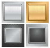 Gold and silver metallic plaques Stock Photo