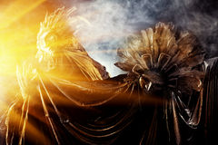 Gold and silver. Metaphorical idea of the sun and the moon. Folklore. Paganism, worship of the sun and the moon Stock Images