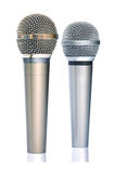 Gold and silver microphones. Two microphones on white background Stock Photo