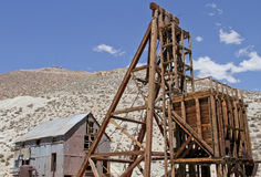 Gold and silver mine shaft head frame Royalty Free Stock Images
