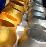 Gold and Silver monk alms bowls Thailand.  Royalty Free Stock Images