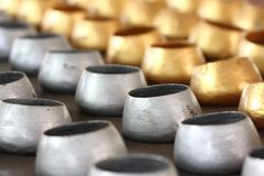 Gold and silver monk's alms-bowl. Stock Photos