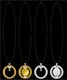 Gold and silver necklaces Royalty Free Stock Image
