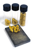 Gold and silver. Nuggets of gold and silver bullion Stock Photos