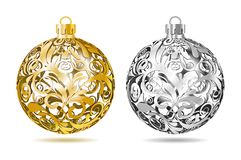 Gold and silver Openwork Christmas balls Stock Photo