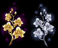 Gold and silver orchid Stock Photo