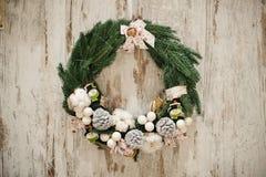 Gold and silver ornament balls Christmas wreath Stock Photos