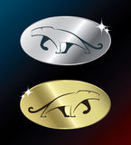 Gold and silver panther medals Stock Image