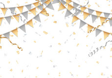 Gold and silver party background with white board Stock Photos