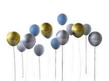 Gold & silver party balloons Royalty Free Stock Photos