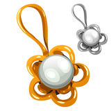 Gold and silver pendant with pearl Royalty Free Stock Photography
