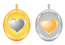 Gold and silver pendants Royalty Free Stock Image
