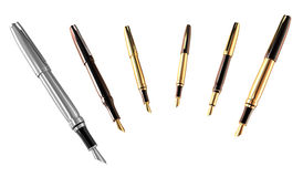 Gold and silver pens set. 3D image stock illustration