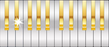 Gold And Silver Piano Keys Royalty Free Stock Images