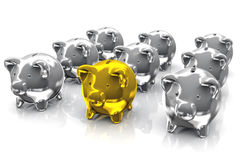 Gold and Silver Piggy Bank. Illustration of a gold piggy bank in the front of many silver piggy bank Stock Image