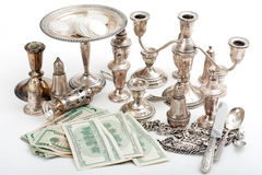 Gold and silver pile scrap and cash dollar Royalty Free Stock Image