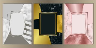 Luxury Marble Cover Set with Geometric Elements. Gold, silver and pink gold and marble cover set. Luxury metal foil and stone abstract A4 background for royalty free illustration