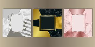 Luxury Marble Cover Set with Geometric Elements. Gold, silver and pink gold and marble cover set. Luxury metal foil and stone abstract template background for vector illustration