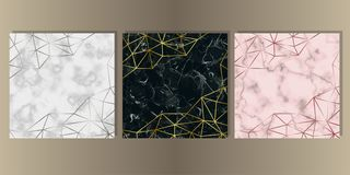 Luxury Marble Cover Set with Geometric Elements. Gold, silver and pink gold and marble cover set. Luxury metal foil and stone abstract background for templstes stock illustration