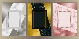 Luxury Marble Cover Set with Geometric Elements. Gold, silver and pink gold and marble cover set. Luxury metal foil and stone abstract A4 background for stock illustration