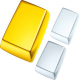 Gold, silver and platinum ingots Royalty Free Stock Image