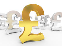 Gold and silver pound signs stock photos