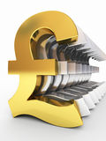Gold and silver pound signs stock photography