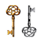 Gold and silver realistic vintage isolated keys Stock Image