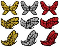 Gold, silver and red glitter patterned butterfly set. Stock Images
