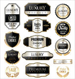 Gold and silver retro vintage badges collection Stock Photography