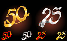Gold and Silver Ribbon Anniversary Royalty Free Stock Photography