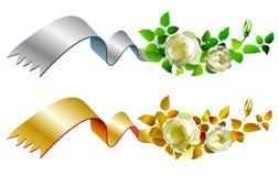Gold and silver ribbon Borders stock illustration
