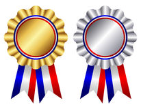 Gold and silver ribbon rosette Royalty Free Stock Photos