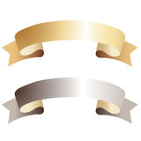 Gold and silver ribbons Royalty Free Stock Photo