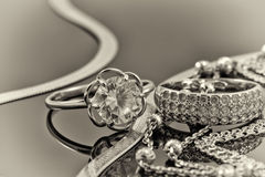 Gold, silver rings and chains Royalty Free Stock Photo