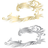 Gold and silver ripe wheat ears frame, border or corner element. Stock Photos