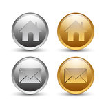 Gold and silver round button Stock Images
