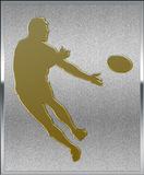 Gold on Silver Rugby Sport Emblem Stock Photos