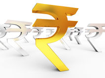 Gold and silver rupee signs Royalty Free Stock Photography