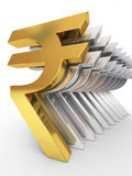 Gold and silver rupee signs stock photography