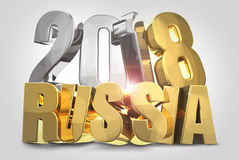 2018 gold silver russia 3d render. Illustration graphic Stock Image