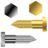 Gold and silver screws Royalty Free Stock Photography